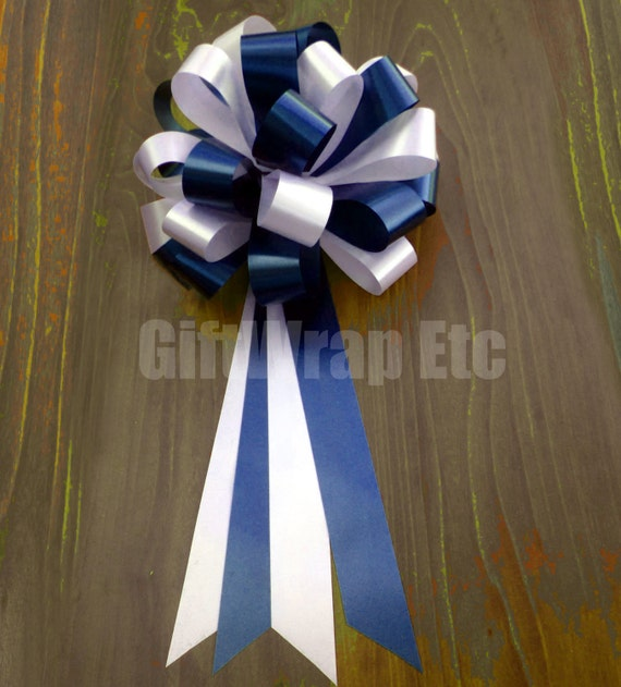 6 Navy White Pull Bows Wedding Pew Chair Graduation Gift