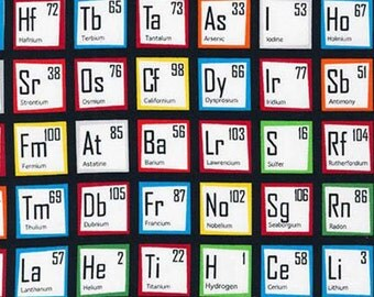 Robert Kaufman - Science Fair - Color Chemistry Periodic Table - Novelty Geek Fabric by the yard AIB14736205