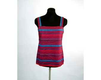 Striped top silk striped tank top shell by Carlisle Size 8 magenta teal
