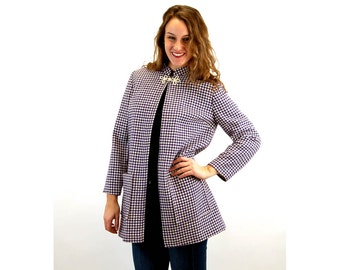 1960s cape coat, houndstooth jacket, wool tweed, purple white check, frog closure