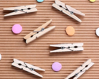 "Mini Clothespins, Mini Wooden Clothespins, Small Clothespins, Place Card Holder, Wedding Favors, Favor Bag Clips, Candy Buffet (1 3/4"" - 30)"