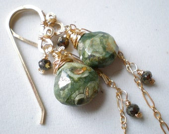Rhyolite Heart Teardrop Earrings, Pyrite and 14k Goldfill Dangle Earrings- Long