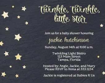 Twinkle Little Star, Baby Shower Invitations, Birthday, Moon, Yellow, Neutral, Chalkboard, Sprinkle, 10 Printed Invites, FREE Shipping