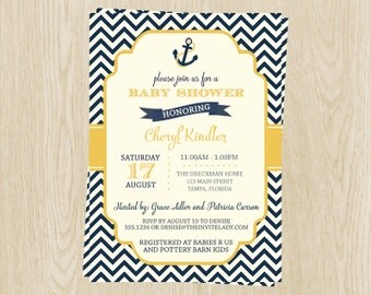 Nautical Baby Shower Invitations, Neutral, Yellow, Navy, Chevron, Stripes, Set of 10 Printed Cards with Envelopes, FREE Shipping