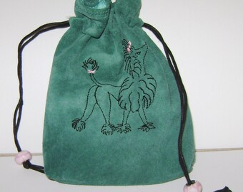 Embroidered Poodle on Aqua Suede Bag - Tarot, Oracle, Runes, Gaming Dice, Anything