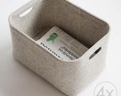Small Size, Set of 4 / Custom-made Felt Storage Basket / Storage Box for a Shelf