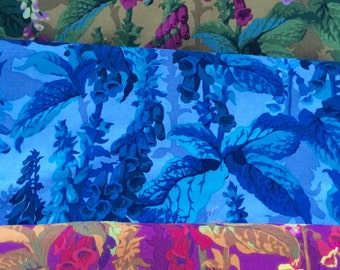 Philip Jacobs Foxgloves, Kaffe Fassett collective, OOP, rare, vhtf, half yard bundle, early Westminster prints