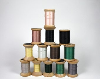 13 Vintage Wood Thread Spools With Thread Rustic Spools Earth Tone Color,  Cranska, American Thread Co. & More