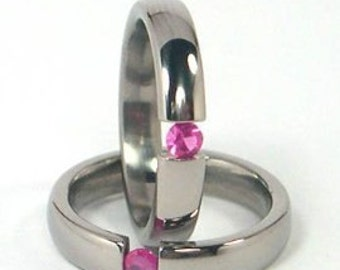 New 4mm Titanium Tension Set Ring, Ruby Bands, Free Sizing 4.5-11: Z4HR-P-Ten-Ruby