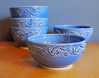 cereal bowl with scrolls, in Delphinium