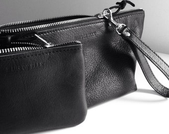 Minimalist leather coin purse - leather zipper pouch - black leather