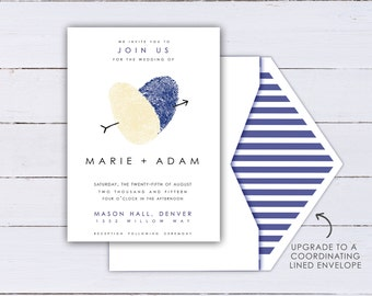 Fingerprint Heart Wedding Invitation Made with your Thumbprints - Romantic Wedding Invites shown in Cream and Navy