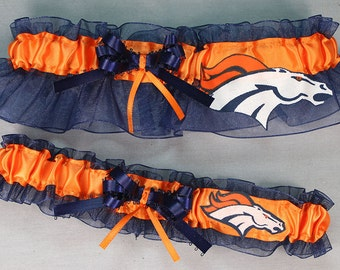 Denver Broncos NFL  Handmade Football Wedding Garter Set - Navy, Can be Personalized