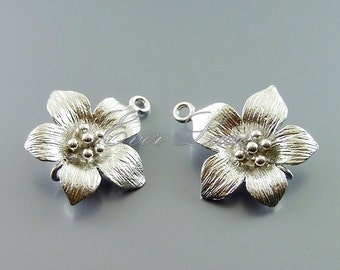 2 feminine flower connectors, floral charms, flower charms, jewelry making findings, supplies C1606-MR (matte silver, connectors, 2 pieces)