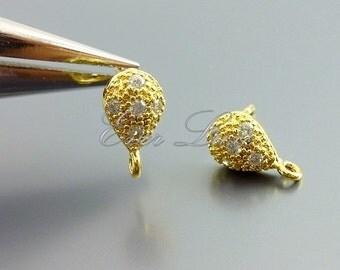 2 upside down teardrop CZ Cubic Zirconia post earrings, earrings, earring making, wedding / bridal jewelry 1681-BG (bright gold, 2 pieces)