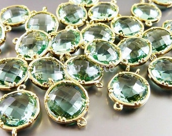2 Prasiolite light green glass connectors for jewelry, faceted round glass connectors 5014G-PR-12 (bright gold, prasiolite, 12mm, 2 pieces)