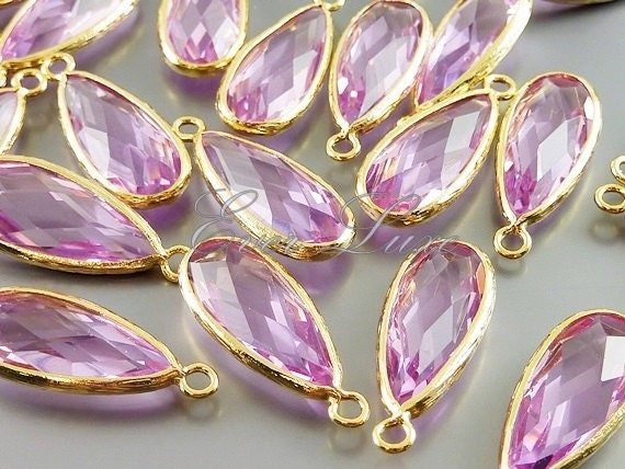 Light Purple Marble : Lavender light purple glass long teardrop stone bezeled