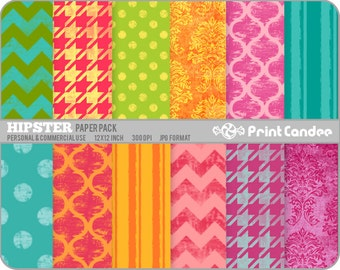 Hipster Paper Pack (12 Sheets) - Personal and Commercial Use