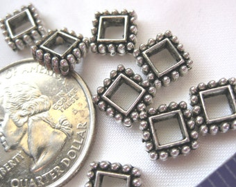 Square Spacer Bead Tibetan Silver Jewelry Supply 5 pieces