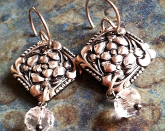 Floral Fine Silver and Swarovski Crystal Earrings