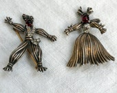 Reserved for Yirong Trifari Rag Doll Pair Brooch Sterling Silver Red Glass Rhinestones 1943