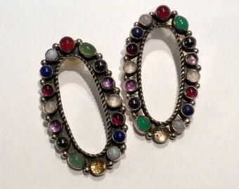 Sterling Silver Earrings Gemstones Large Oval