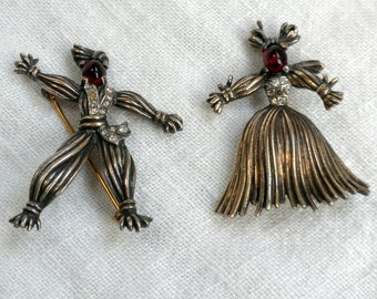 Trifari Rag Doll Pair Brooch Sterling Silver Red Glass Rhinestones 1943
