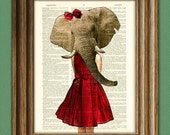 Elephant girl in a pretty red dress Safari Girls Collection illustration beautifully upcycled dictionary page book art print
