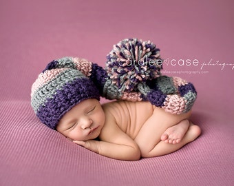 Baby Girl Elf Hat in Dusty Pink, Dark Purple, and Grey