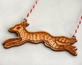 Leaping Fox - Wooden Ornament