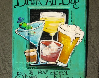 """BAR SIGN** whimsical saying  and mixed drinks**  11"""" x17"""" Print of Original Acrylic on Canvas"""
