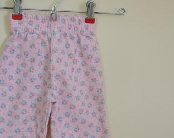 Vintage Pink Floral Print Corduroy Pants - Size 6-9 Months