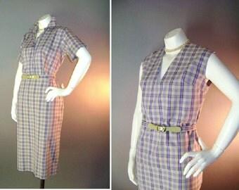 50s dress vintage 1950s PURPLE PLAID lavender beige 3pc cotton pencil skirt 2 tops shirts set