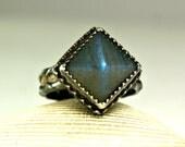 Sterling Silver Labradorite Pyramid Ring, Blue Flash, Hand Made Custom Jewelry, Goth Style