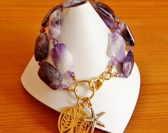 Amethyst bracelet, multi strand bracelet, purple bracelet, big chunky bracelet, big bold bracelet statement bracelet, healing jewelry, OOAK