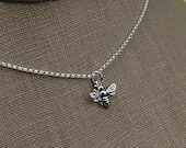 Small bee necklace in sterling silver, bee necklace, bee hive, bee jewelry, honey bee, bee charm, silver honey bee, sterling silver bee