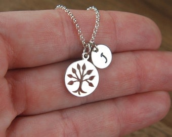 Tree of life cut-out charm and initial necklace in sterling silver, family tree, round charm, tree necklace, nature, personalized, monogram