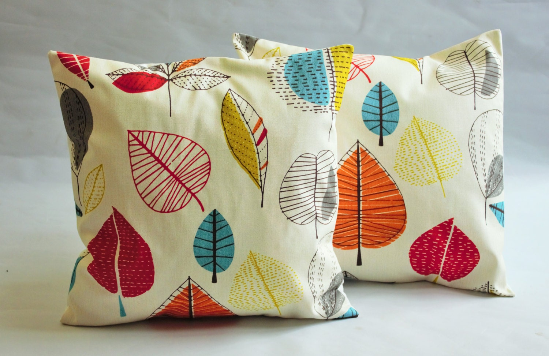 Decorative Pillows Turquoise Blue Red Orange Yellow By VeeDubz