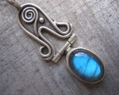 New Beginnings Antiquities Pendant with Labradorite in Sterling Silver and Hinge