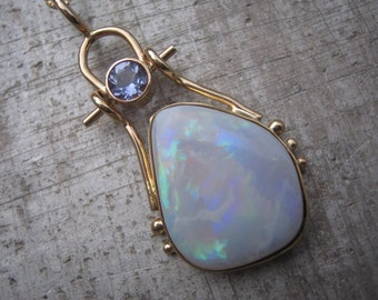 White Opal and Iolite Hinged Pendant in 18K and 14k Gold