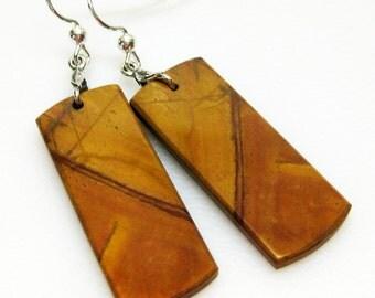 Red Creek Jasper Earrings - Rusty Brown Earrings - Gemstone Earrings - Sterling Silver - Womens Jewelry