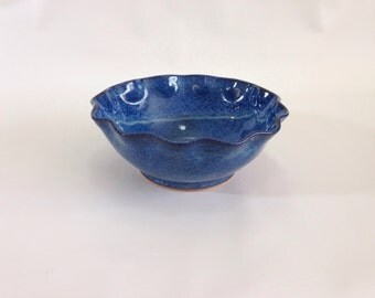 Handemade Stoneware Blue Serving Bowl or Fruit Dish for the Kitchen