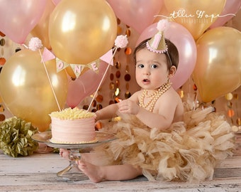 Baby Girls Birthday Tutu Dress Outfit  Gold Toddler Tutus