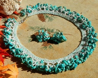 Turquoise Stone Chips and Czech Glass Beaded Necklace and Matching Earrings