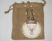 Christmas Gift Card Holder, Christmas Table Decor, Burlap Utensil Holder