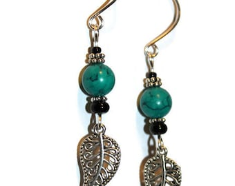 Turquoise Silver Leaf Earrings