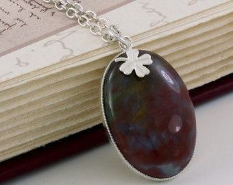 Large Pendant Necklace Agate with Clover Charm, Shamrock Necklace Silver Chain, Oval Gemstone Pendant, Statement Jewelry, Free Shipping