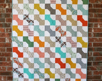 Modern Vintage Style Bow Tie Quilt - Throw Size