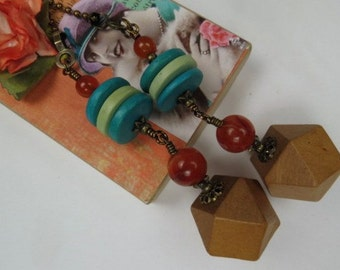 Deocrative Chain Pull Pair with Wooden Bead, Turquoise and Green Wood Discs and Red Agate Bead Accents