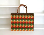 Vintage 1960's Cross Stitch Tote Bag / 60's Green, Orange, Red & Pink Crafty Handbag with Brown Beaded Wooden Top Handles